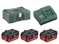 Metabo Kit de base 18 Volt - 3x batteries 5,5Ah LiHD + chargeur + coffret Metaloc II