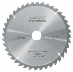 Metabo Lames « Classic » pour scies circulaires (semi-)stationnaires, 216 x 1,8 x 30 mm - 62806500