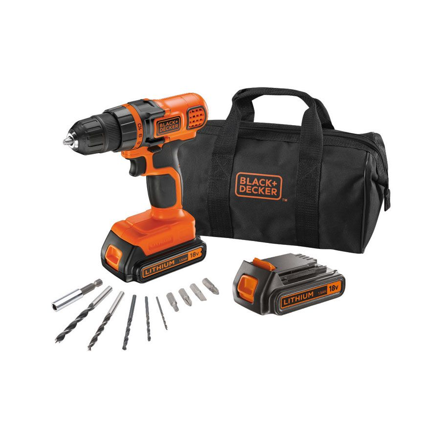 black decker egbl18ba10s perceuse visseuse 18v lithium 2 batteries 10 accessoires et sac. Black Bedroom Furniture Sets. Home Design Ideas