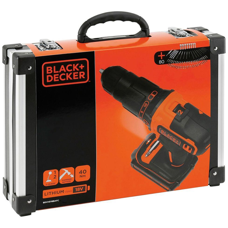 black decker bdchd18bafc perceuse visseuse percussion sans fil avec chargeur 2 batteries. Black Bedroom Furniture Sets. Home Design Ideas