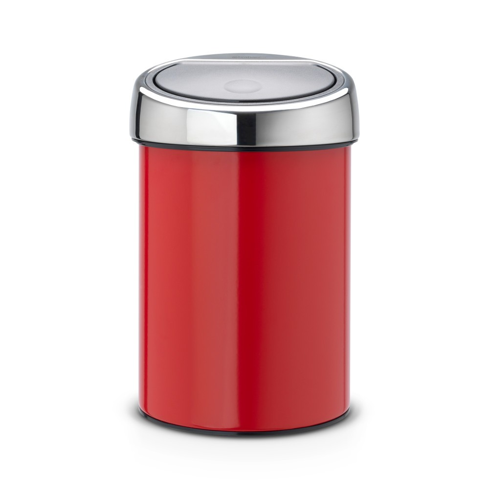 brabantia touch bin 3 l mit kunststoffeinsatz deckel brilliant steel passion red. Black Bedroom Furniture Sets. Home Design Ideas