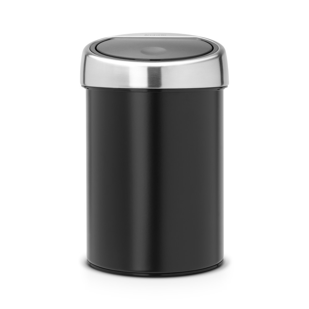 brabantia touch bin 3 l mit kunststoffeinsatz deckel matt steel matt black. Black Bedroom Furniture Sets. Home Design Ideas
