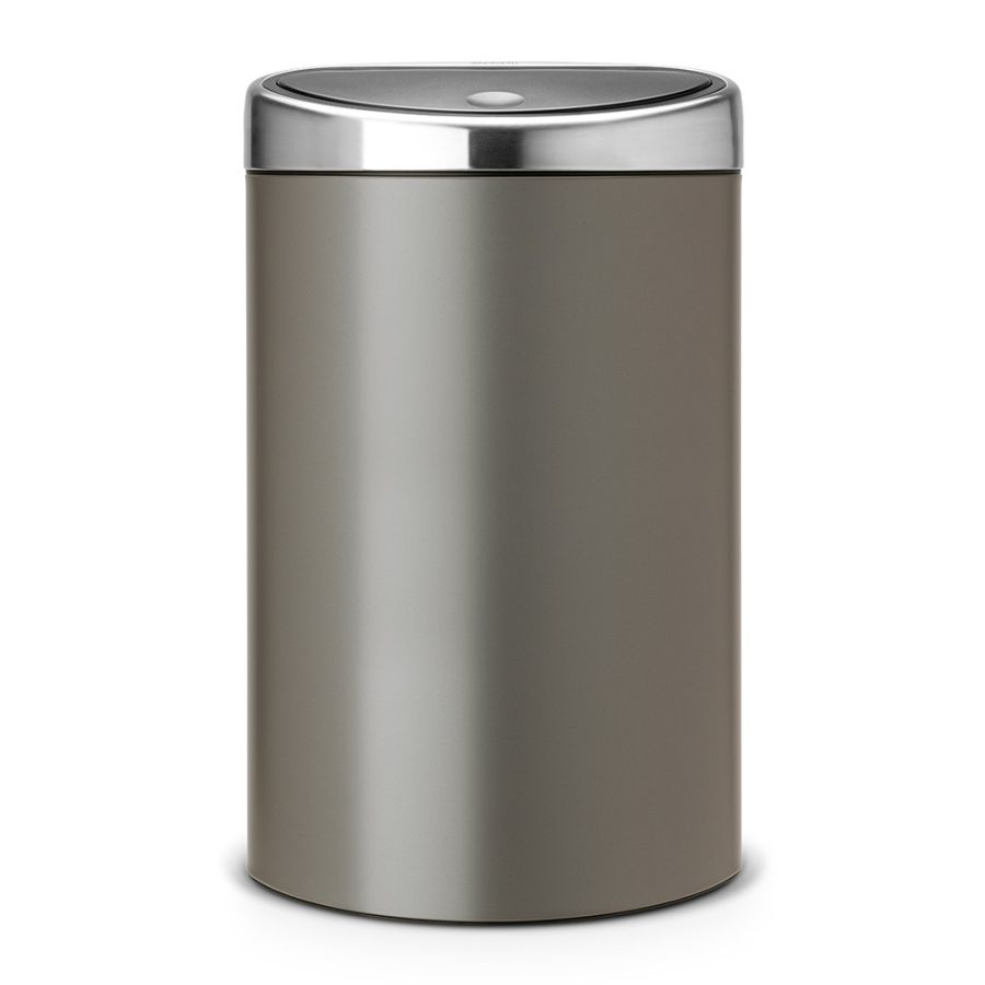 brabantia abfalleimer touch bin 40 l mit kunststoffeinsatz matt steel platinum. Black Bedroom Furniture Sets. Home Design Ideas