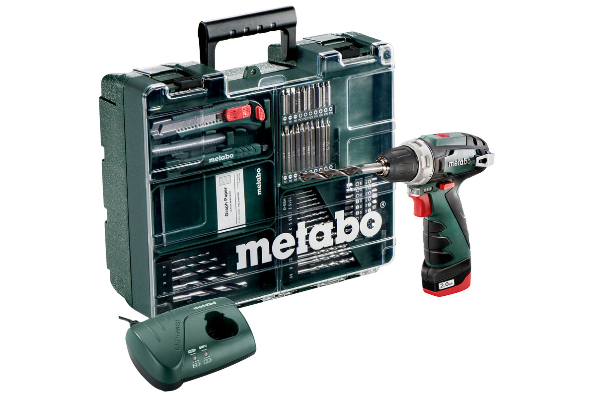 metabo 10 8 volt akku bohrschrauber powermaxx bs set mobile werkstatt 600079880. Black Bedroom Furniture Sets. Home Design Ideas