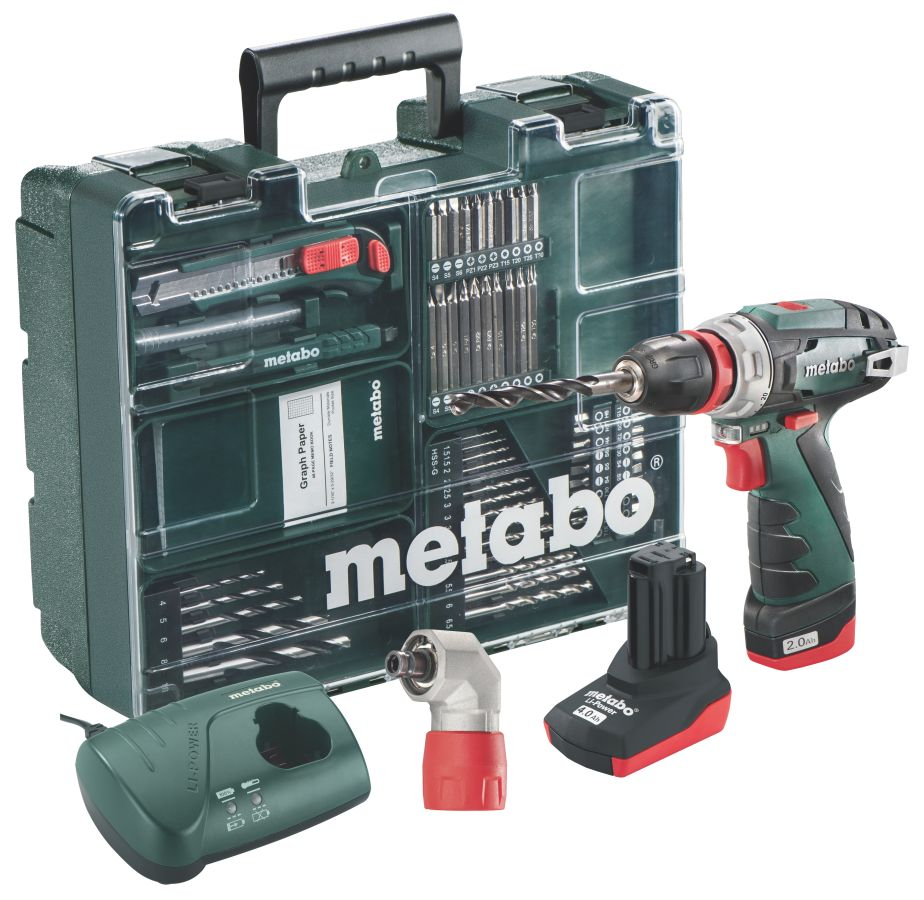 metabo 10 8 volt akku bohrschrauber powermaxx bs quick pro set mobile werkstatt. Black Bedroom Furniture Sets. Home Design Ideas