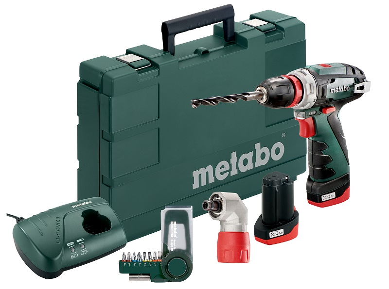 metabo 10 8 volt akku bohrschrauber powermaxx bs quick basic set schnellwechselwinkeladapter. Black Bedroom Furniture Sets. Home Design Ideas