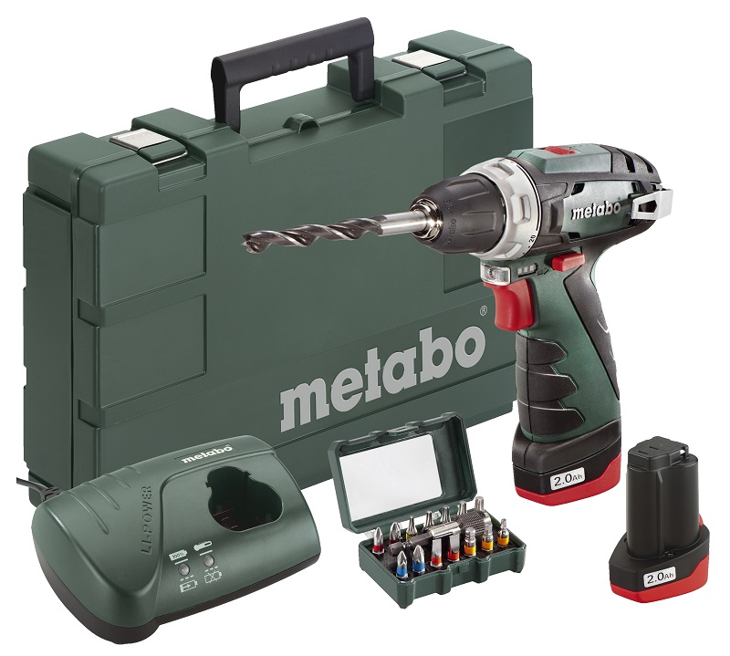 metabo 10 8 volt akku bohrschrauber powermaxx bs basic set bit box sp 15 teilig. Black Bedroom Furniture Sets. Home Design Ideas