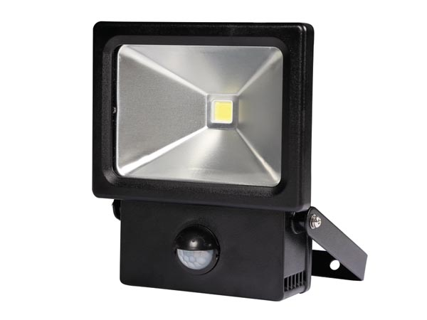 perel led strahler f r den au enbereich mit pir sensor 10 w neutralwei. Black Bedroom Furniture Sets. Home Design Ideas